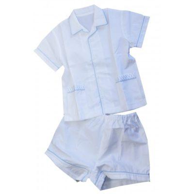 Pyjama blanc biais bleu ciel